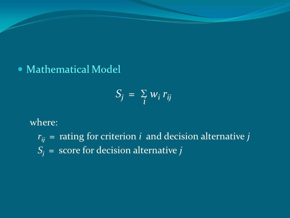 Sj = S wi rij Mathematical Model i where: