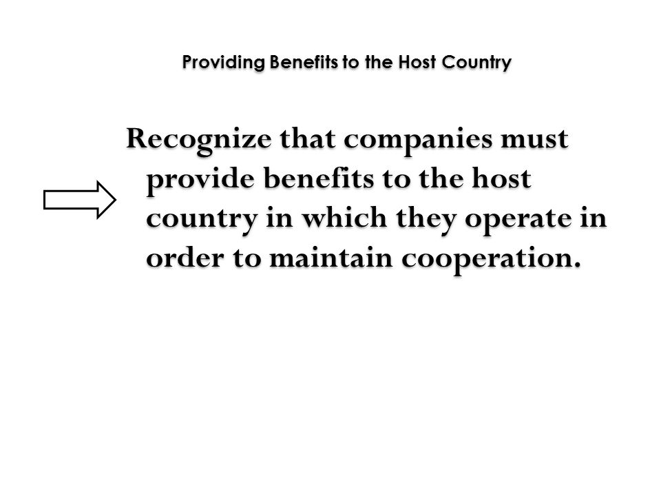 Providing Benefits to the Host Country
