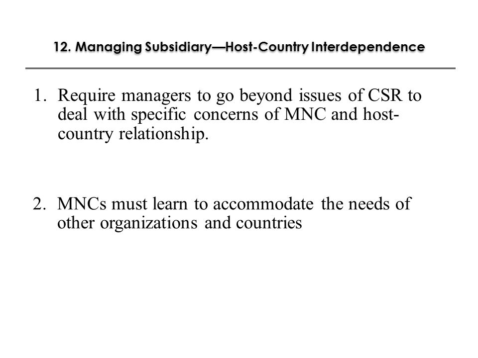 12. Managing Subsidiary—Host-Country Interdependence