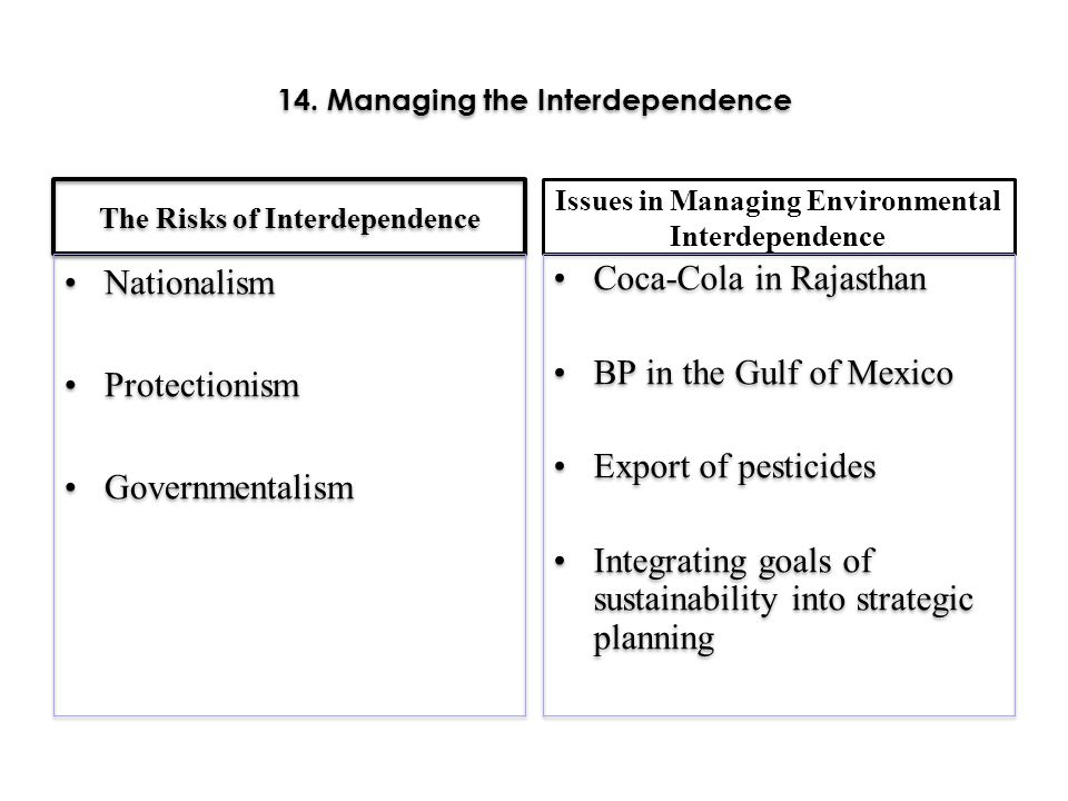 14. Managing the Interdependence