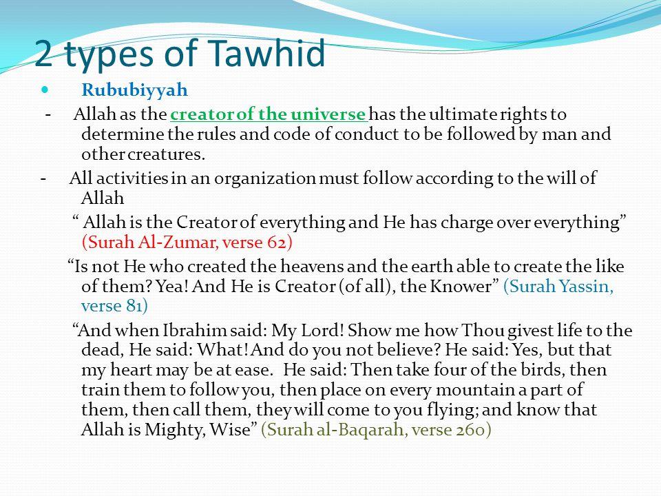 2 types of Tawhid Rububiyyah