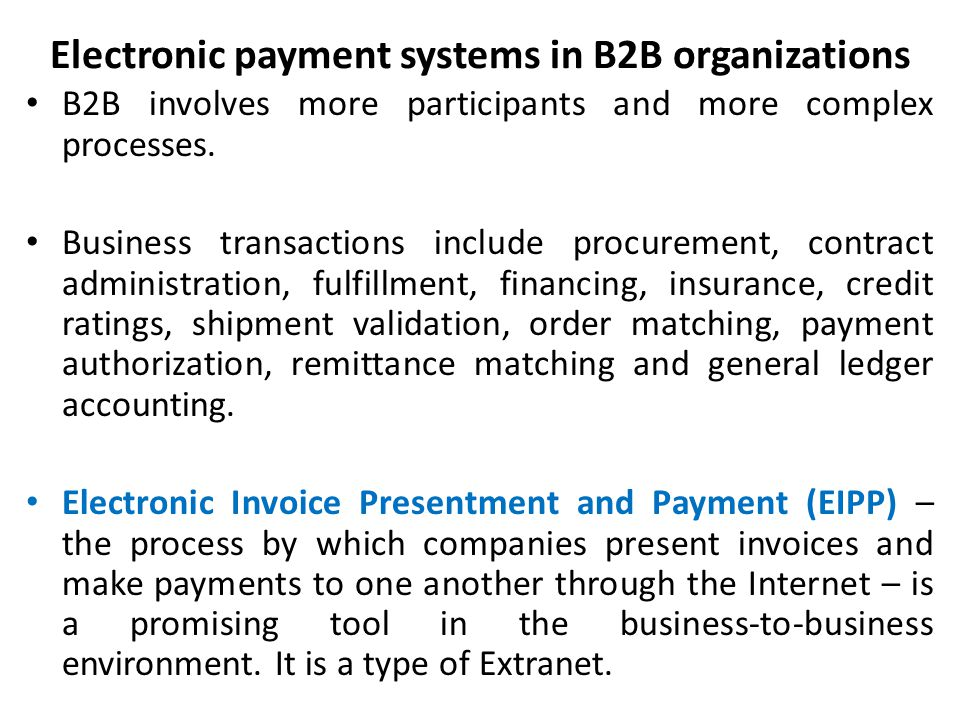 Electronic payment systems in B2B organizations