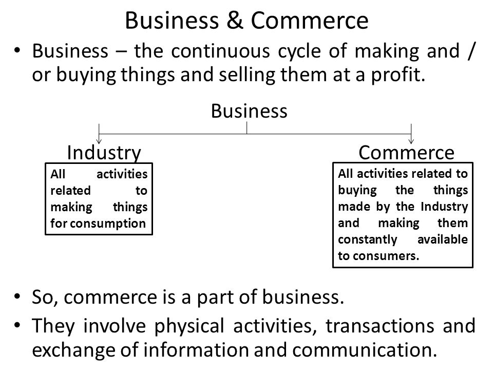 Business & Commerce Business – the continuous cycle of making and / or buying things and selling them at a profit.
