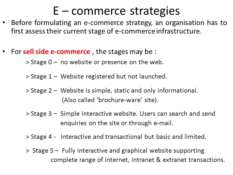 E – commerce strategies