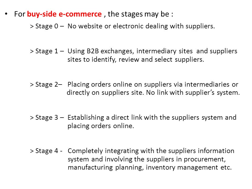 For buy-side e-commerce , the stages may be :