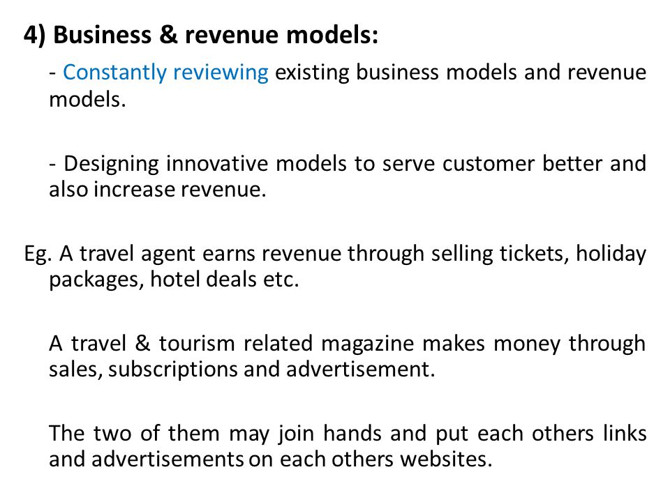 4) Business & revenue models: