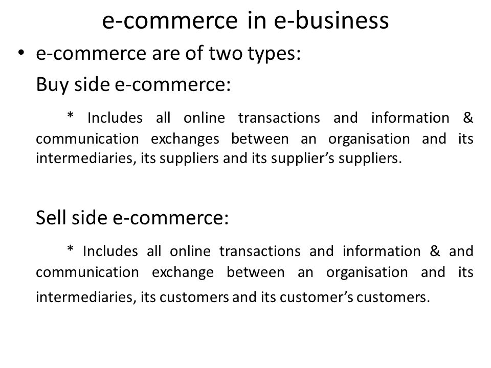 e-commerce in e-business