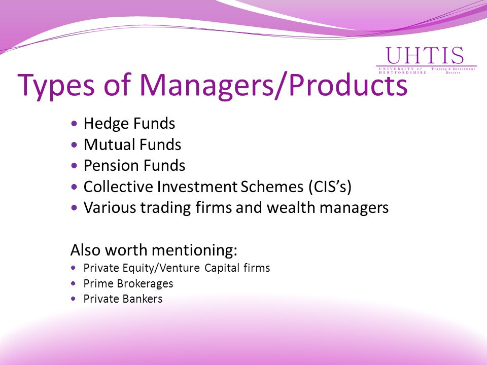 Types of Managers/Products