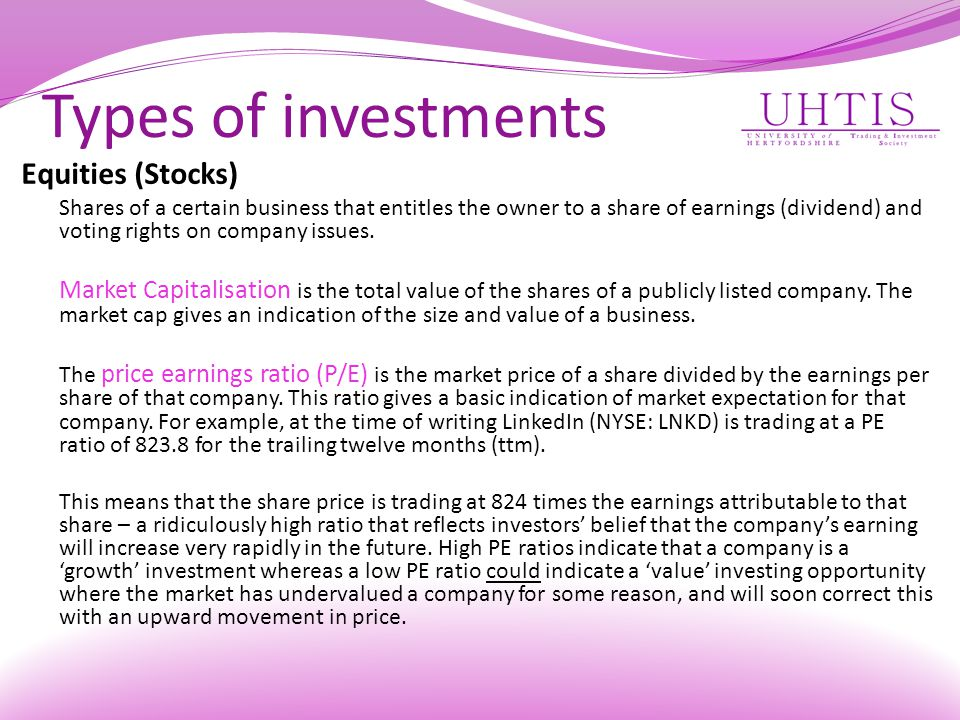 Types of investments Equities (Stocks)