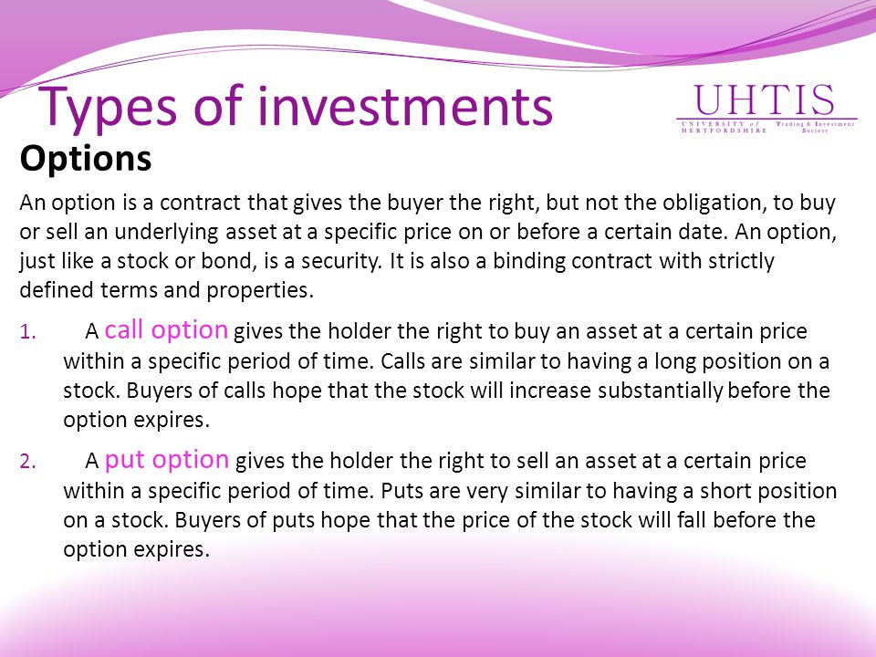 Types of investments Options