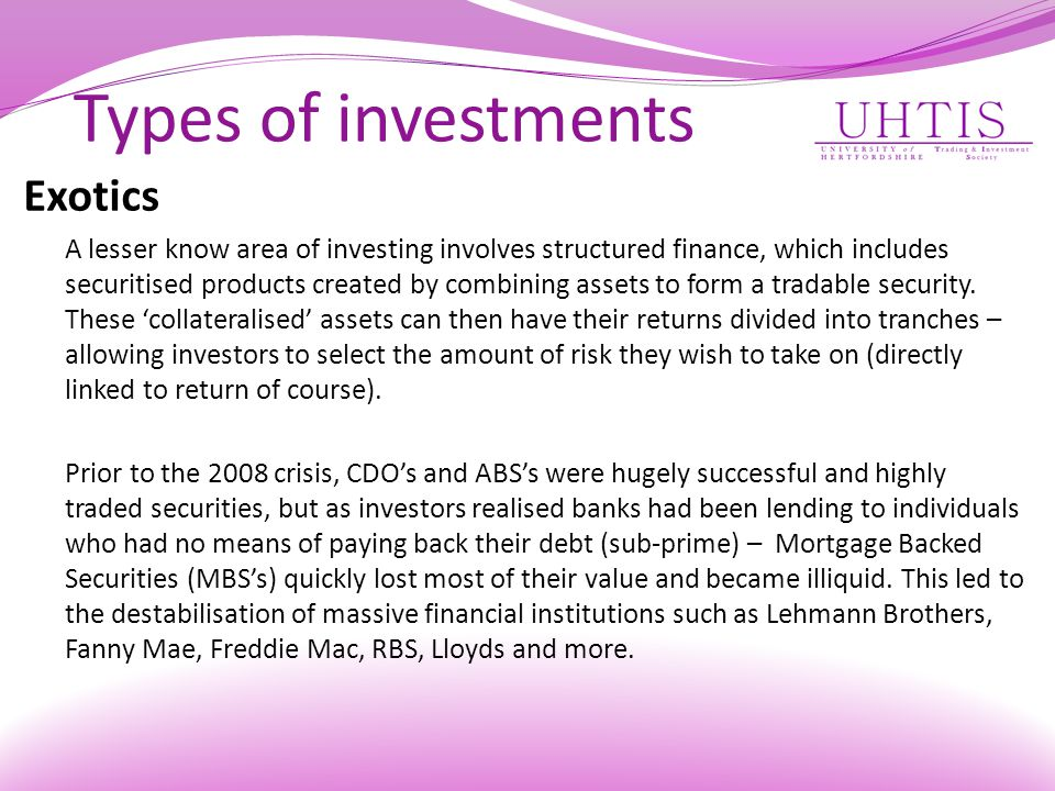 Types of investments Exotics