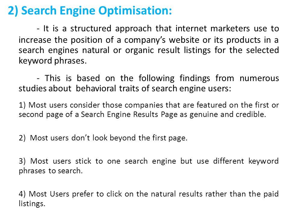 2) Search Engine Optimisation: