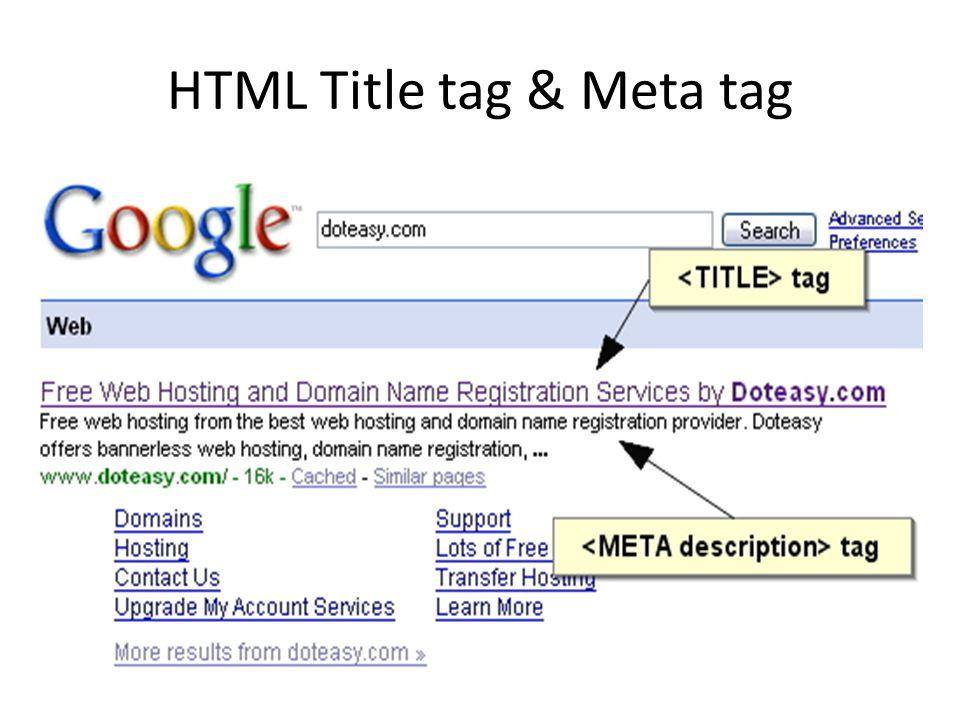 HTML Title tag & Meta tag