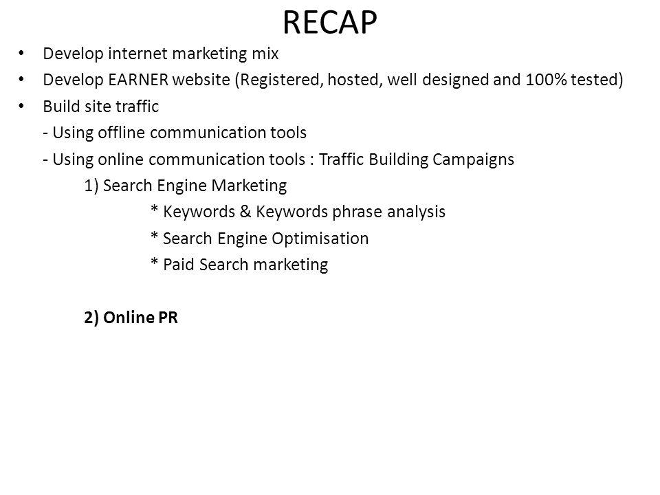 RECAP Develop internet marketing mix