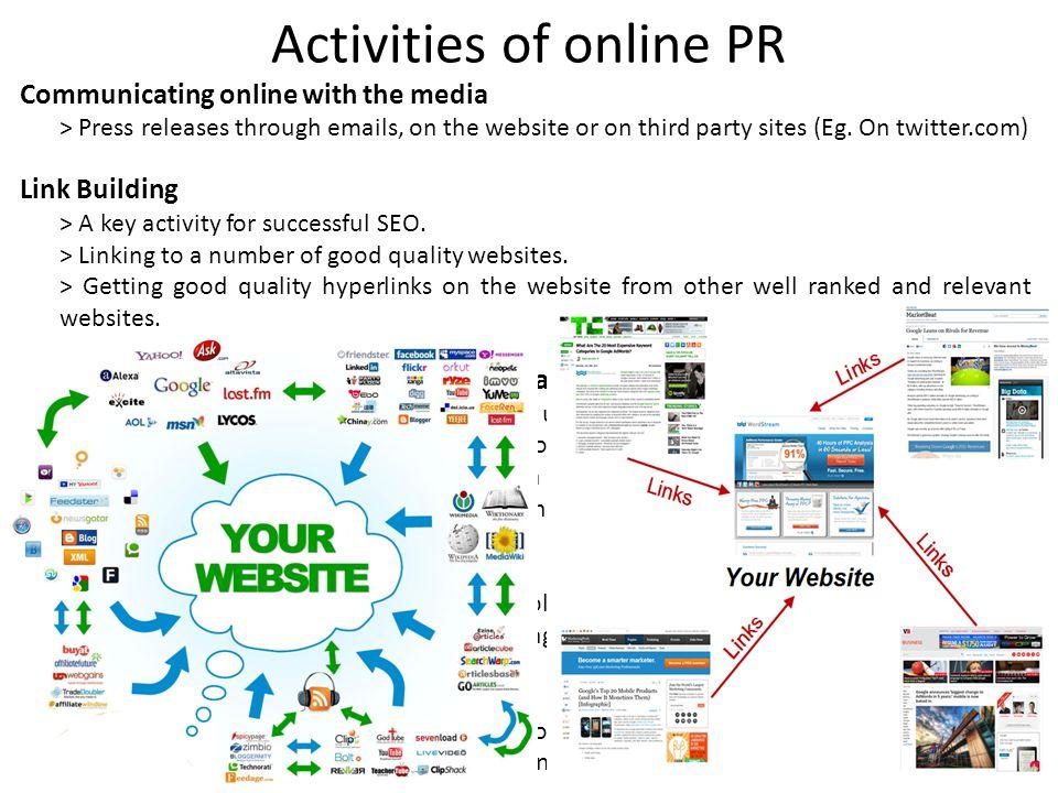 Activities of online PR