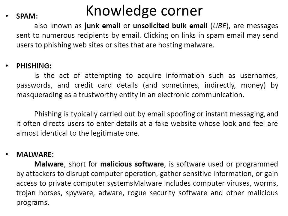 Knowledge corner SPAM: