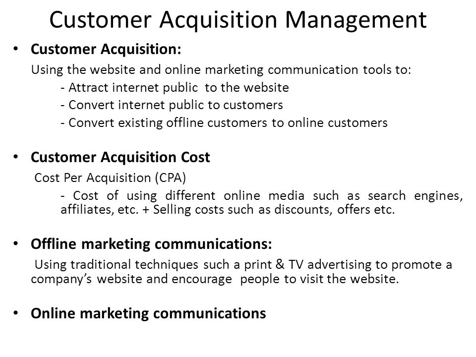 Customer Acquisition Management