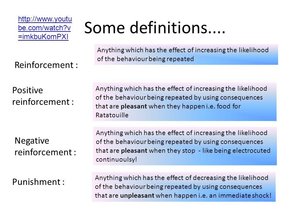 Some definitions.... Reinforcement : Positive reinforcement :