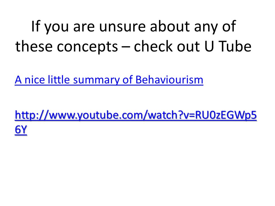 If you are unsure about any of these concepts – check out U Tube