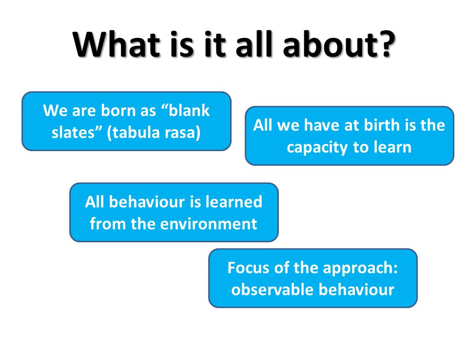 What is it all about We are born as blank slates (tabula rasa)
