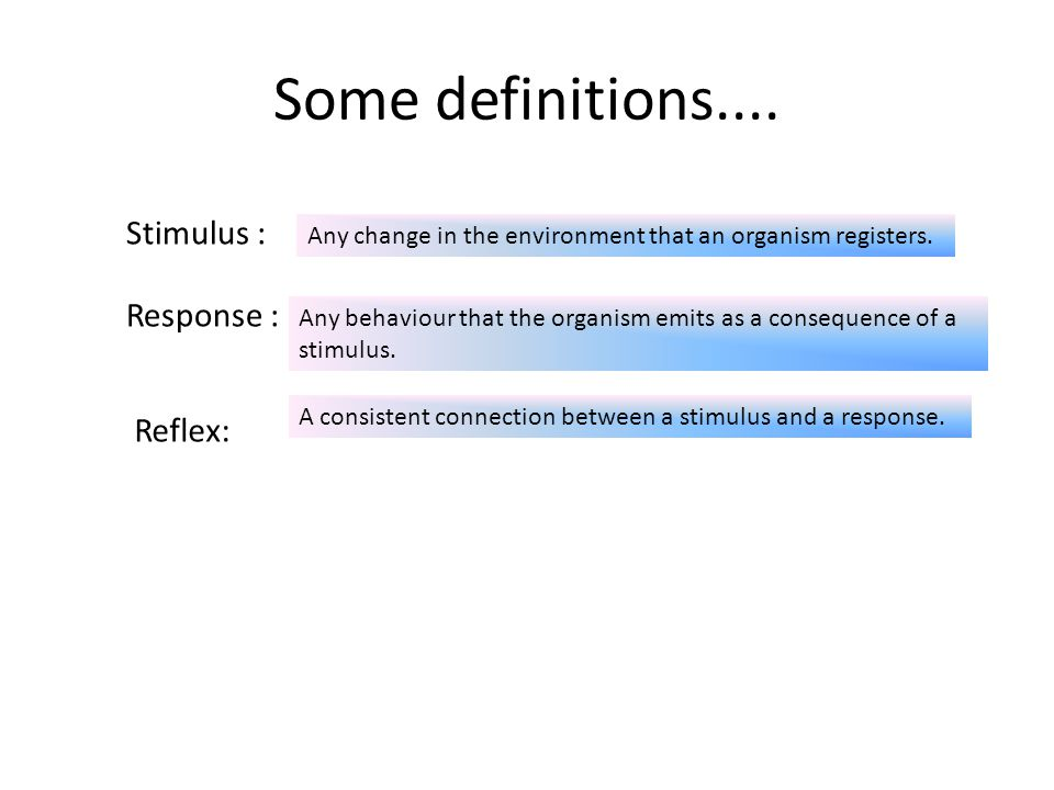 Some definitions.... Stimulus : Response : Reflex:
