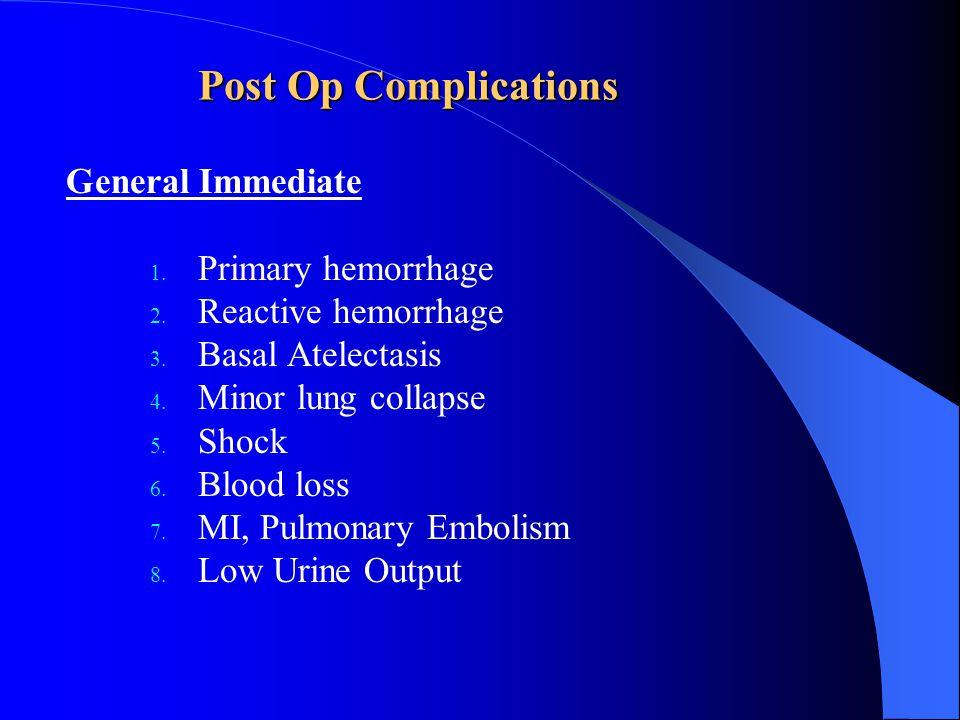 Post Op Complications General Immediate Primary hemorrhage