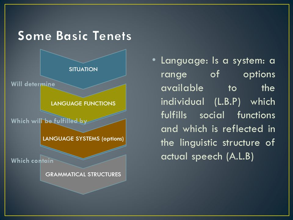 Some Basic Tenets SITUATION. LANGUAGE FUNCTIONS. LANGUAGE SYSTEMS (options) GRAMMATICAL STRUCTURES.