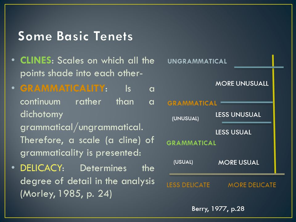 Some Basic Tenets CLINES: Scales on which all the points shade into each other-