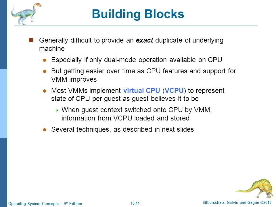 Building Blocks Generally difficult to provide an exact duplicate of underlying machine. Especially if only dual-mode operation available on CPU.