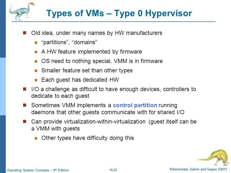 Types of VMs – Type 0 Hypervisor