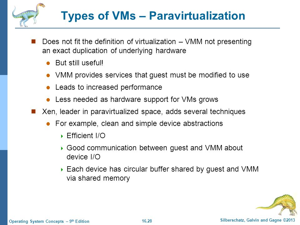 Types of VMs – Paravirtualization
