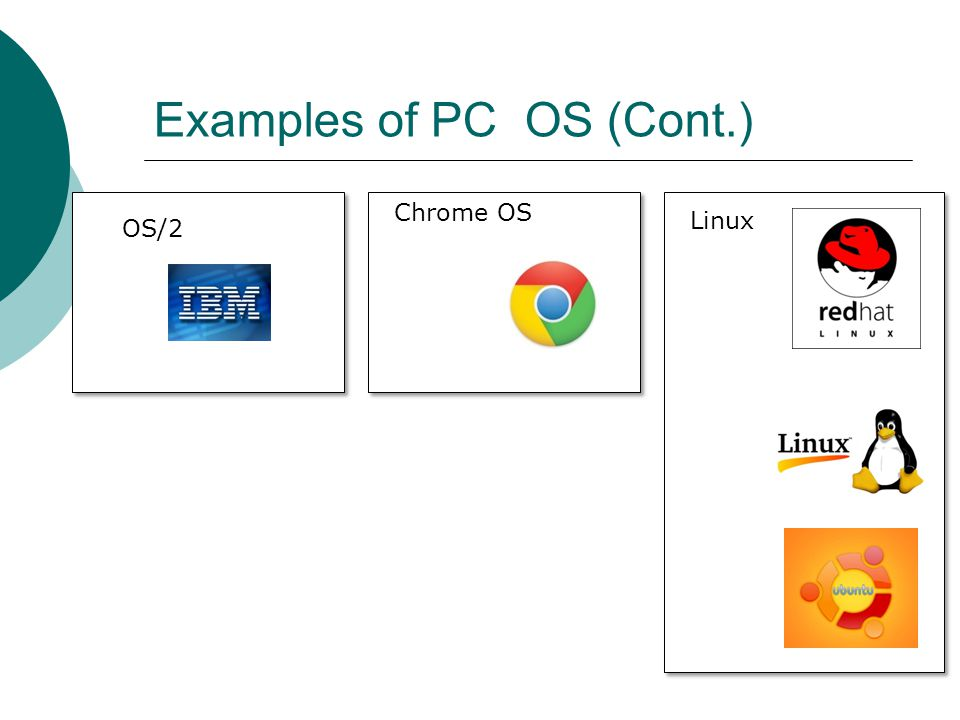 Examples of PC OS (Cont.)