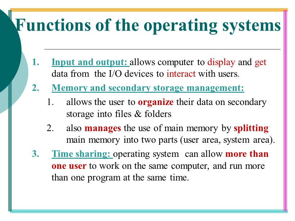 Functions of the operating systems