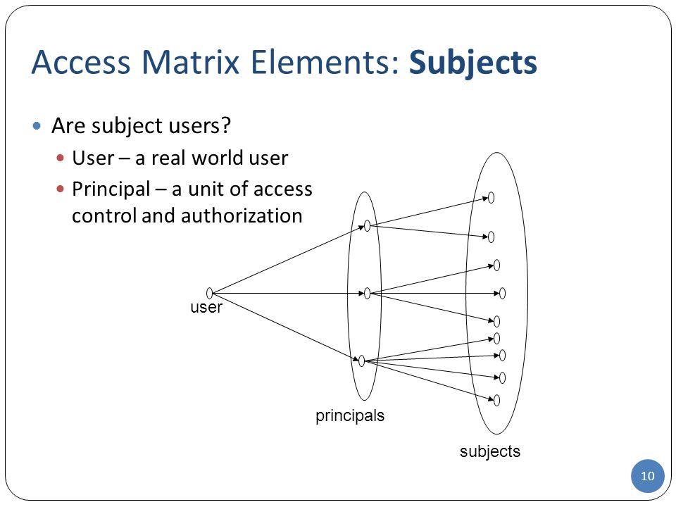 Access Matrix Elements: Subjects