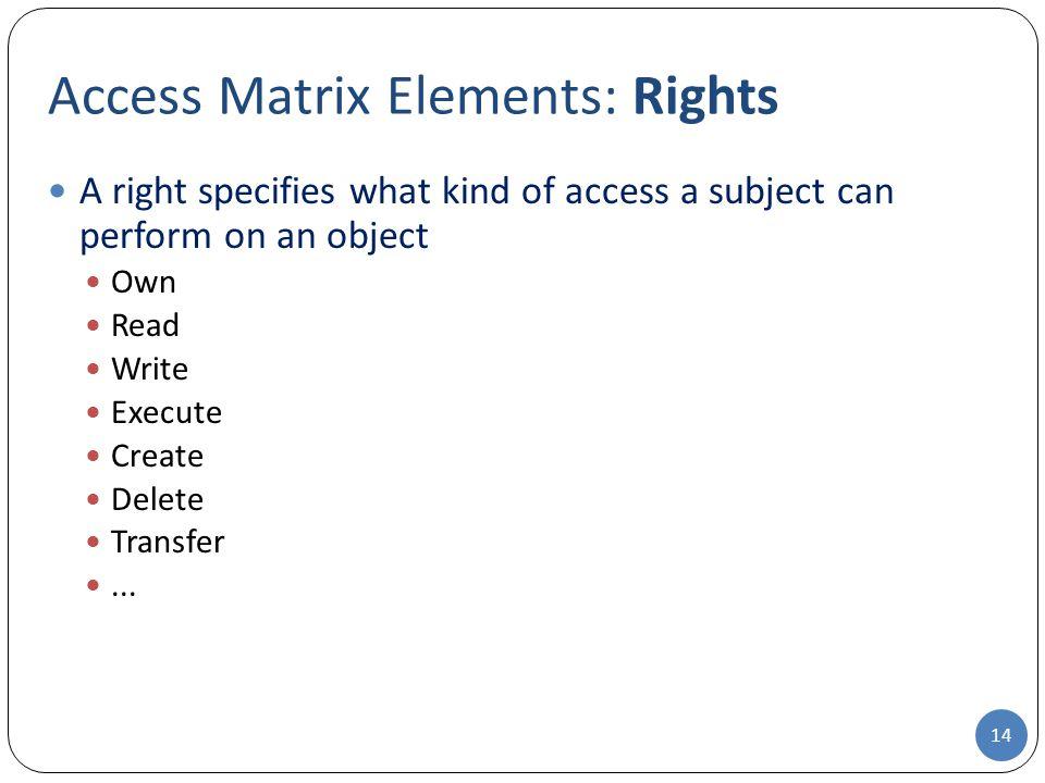 Access Matrix Elements: Rights