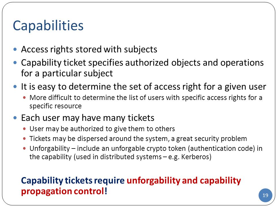 Capabilities Access rights stored with subjects
