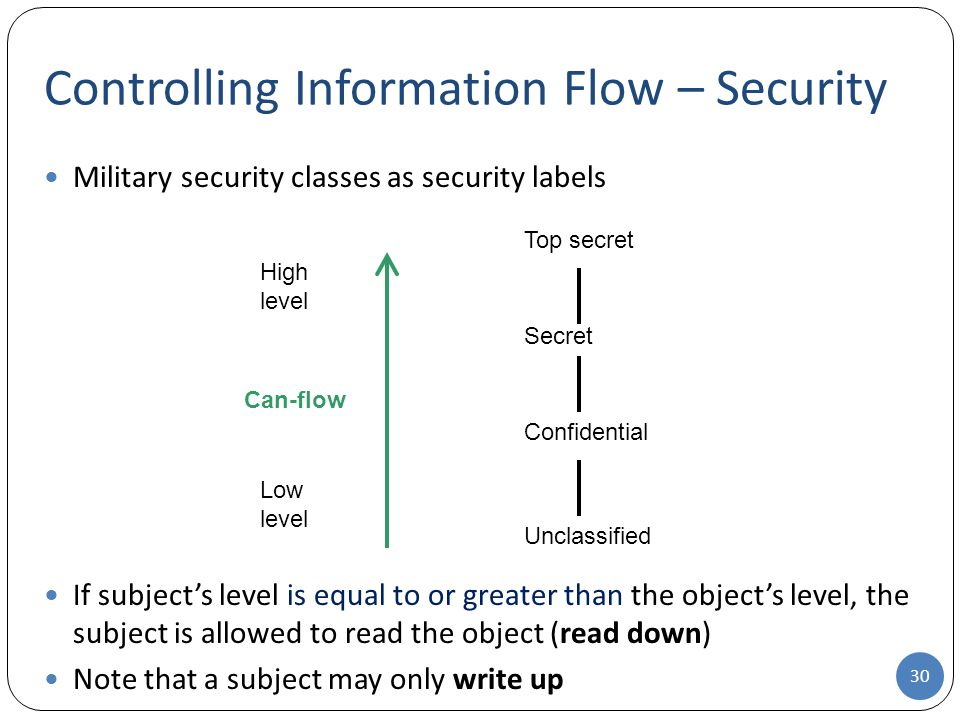 Controlling Information Flow – Security