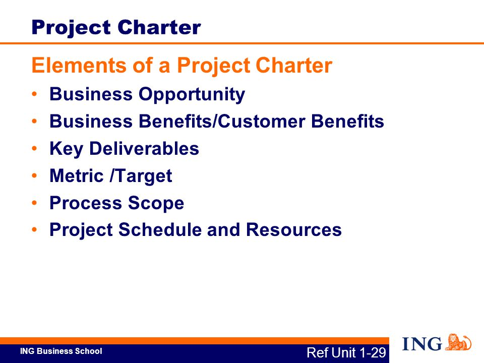 Elements of a Project Charter