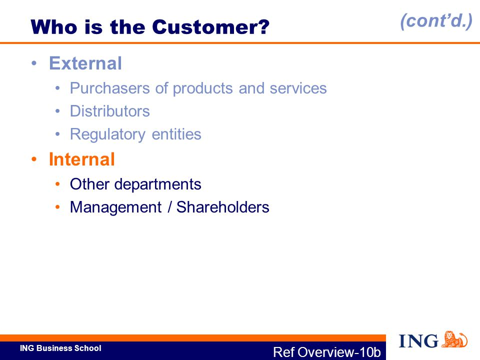 Who is the Customer (cont'd.) External Internal