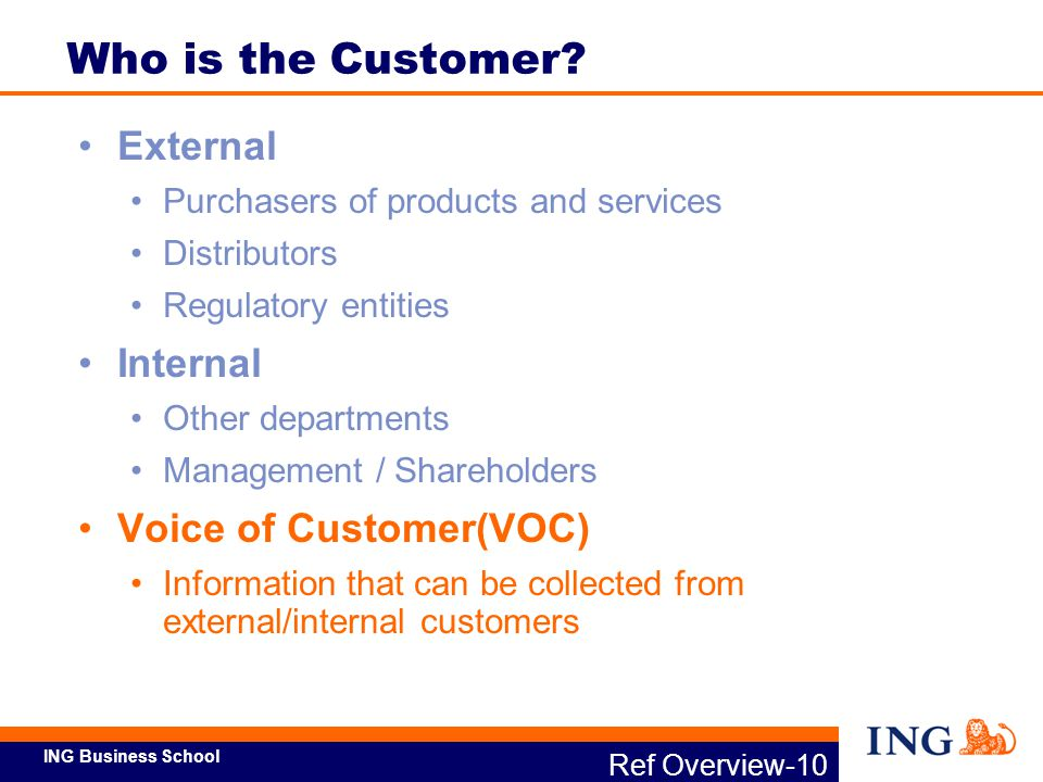Who is the Customer External Internal Voice of Customer(VOC)