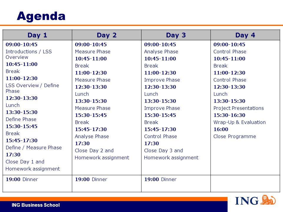 Agenda Day 1 Day 2 Day 3 Day 4 09:00-10:45