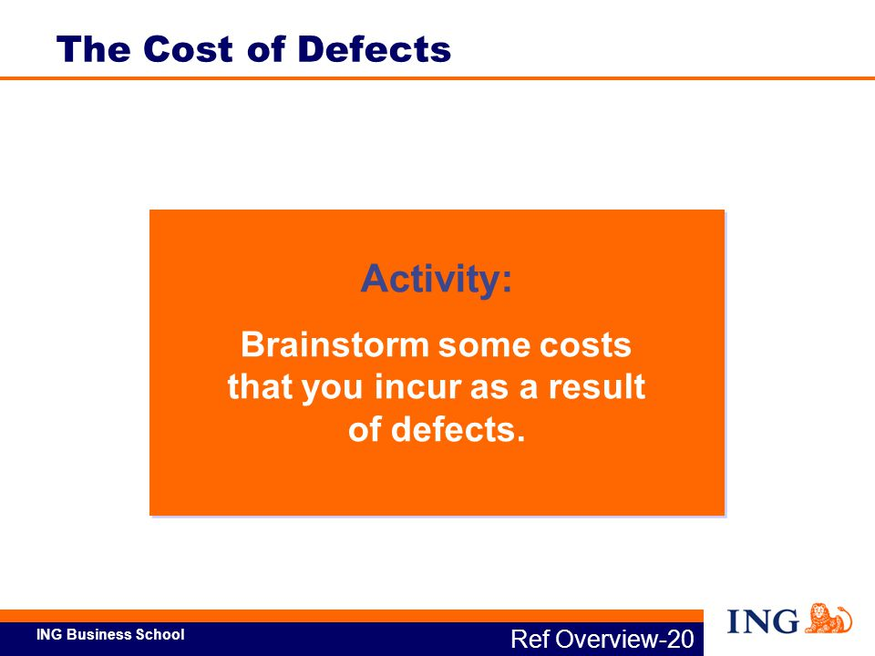Brainstorm some costs that you incur as a result of defects.
