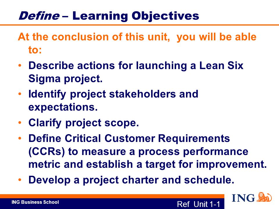 Define – Learning Objectives