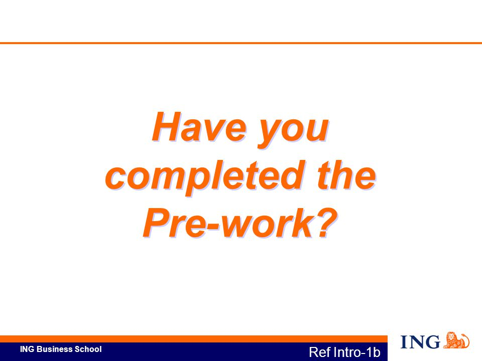 Have you completed the Pre-work