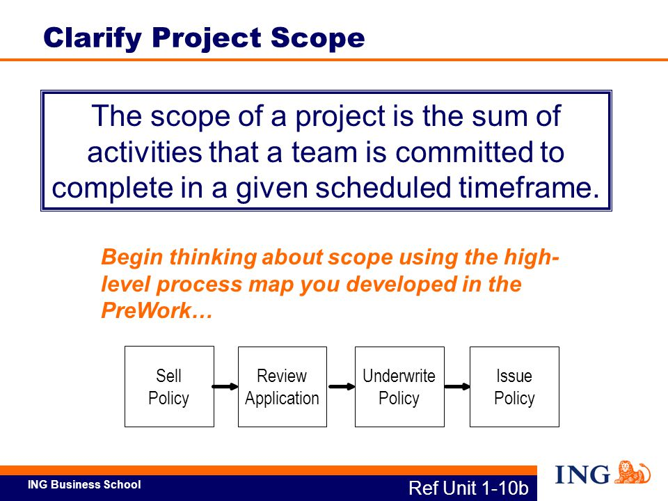 Clarify Project Scope The scope of a project is the sum of activities that a team is committed to complete in a given scheduled timeframe.
