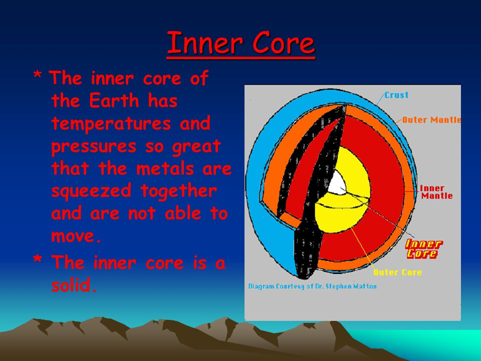 Inner Core * The inner core of the Earth has temperatures and pressures so great that the metals are squeezed together and are not able to move.