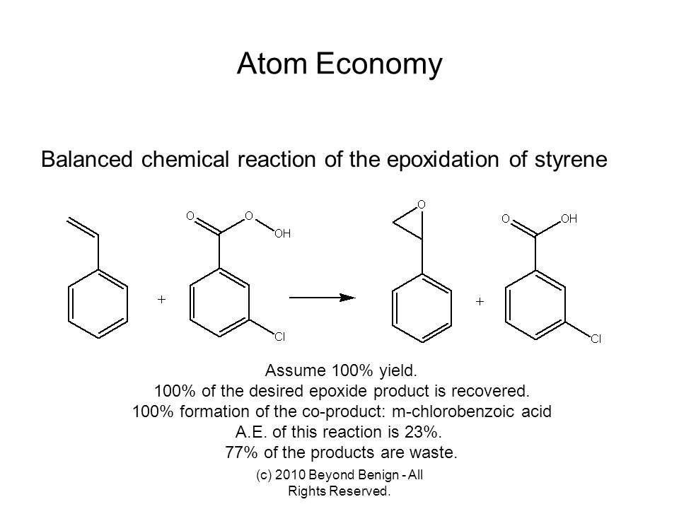 Atom Economy Balanced chemical reaction of the epoxidation of styrene
