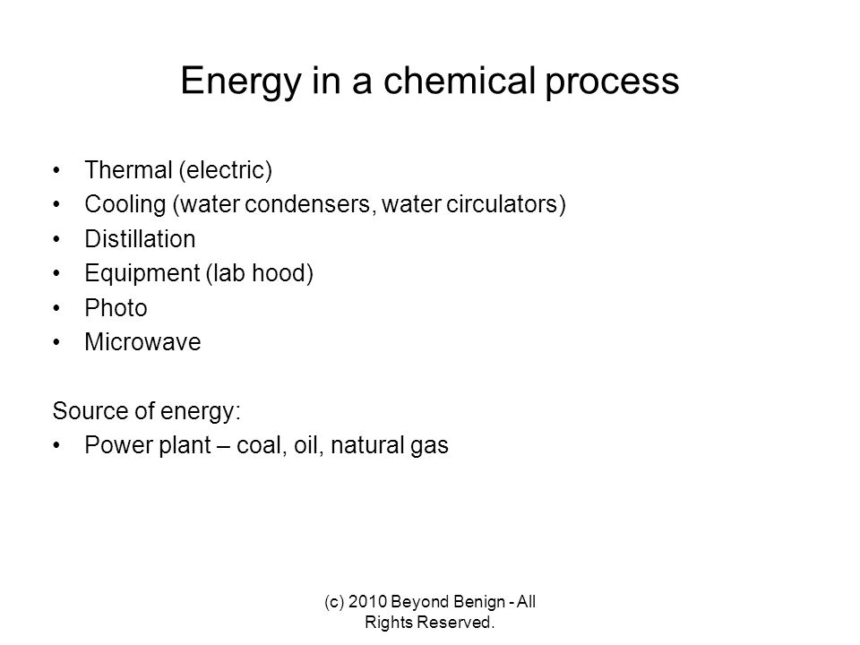 Energy in a chemical process