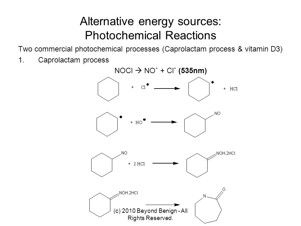 Alternative energy sources: Photochemical Reactions