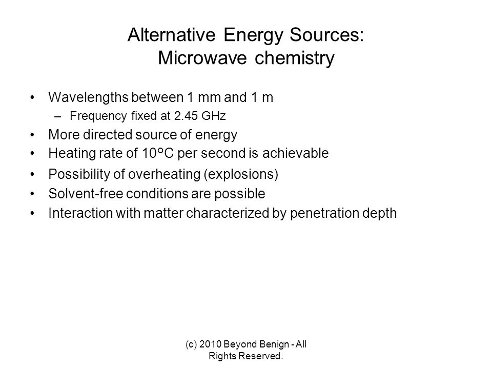 Alternative Energy Sources: Microwave chemistry